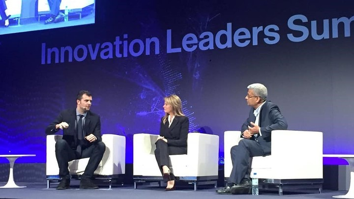 Battista Biggio con con Nicole Eagan, CEO Darktrace, e J.R. Rao, IBM Fellow and Director of Security Research, IBM